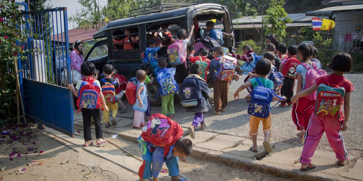JRS supports the transportation of preschool children to and from the Krung Jor Shan refugee camp, home to people of the Shan tribe who fled conflict in Myanmar.